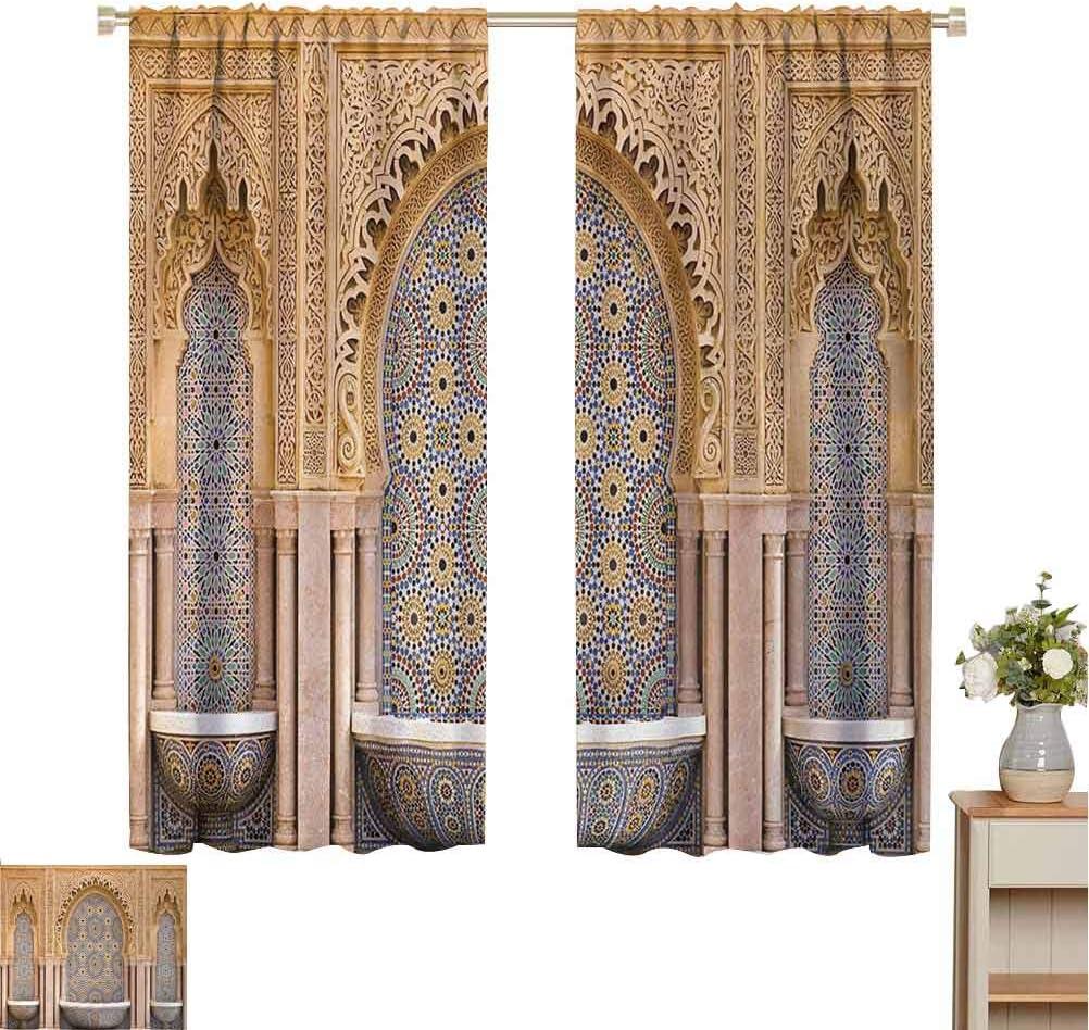 Cortina con aislamiento de sombreado marroquí típico marroquí de la ciudad de Rabat cerca de la torre Hassan para sala de estar o dormitorio, ancho 84 x largo 72 pulgadas, color marrón pálido