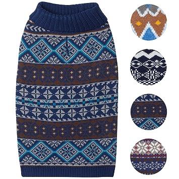 Amazon.com : Blueberry Pet 4 Patterns Fair Isle Style Yale Blue ...