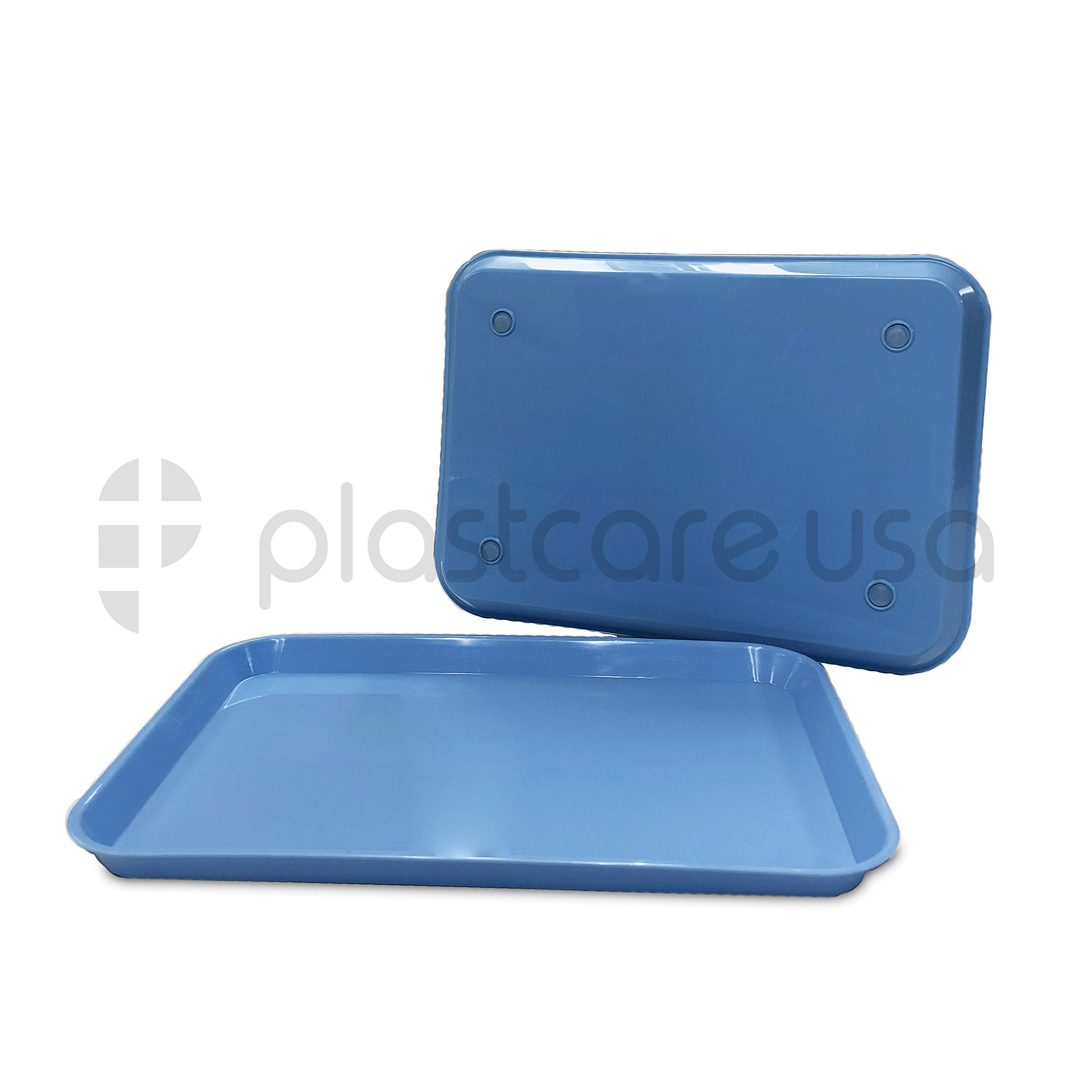 12 Dental Autoclavable Plastic Instrument Set Up Flat Trays, Blue, 13.25 Inches x 9.75 Inches, Size B