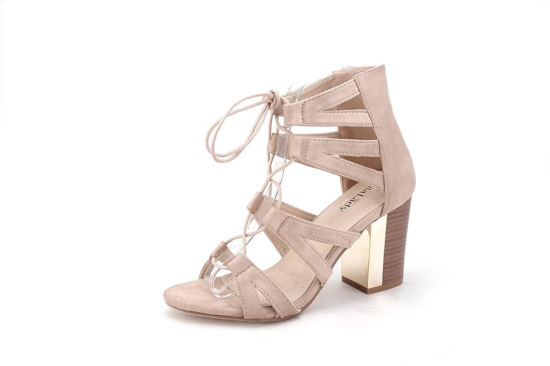 e8742d2c9d8 Mila Lady Lisa 1 Womens Lace -Up Chunky Heel Fashion Sandal lovely ...