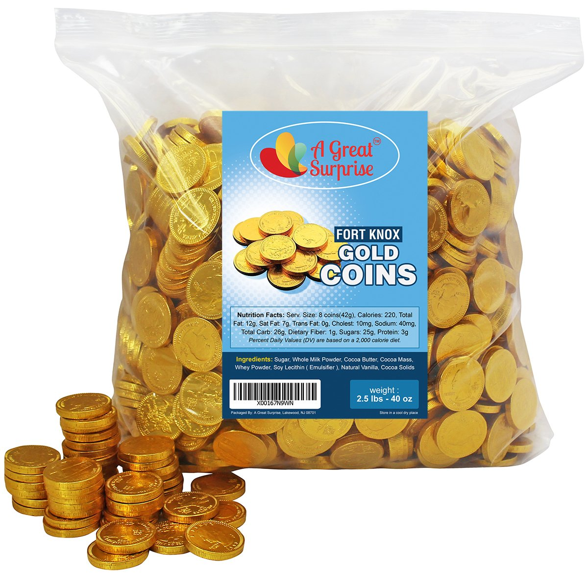 Chocolate Gold Coins - Fort Knox Chocolate Coins - Gold Candy - Milk Chocolate 2.5 LB Bulk Candy by A Great Surprise