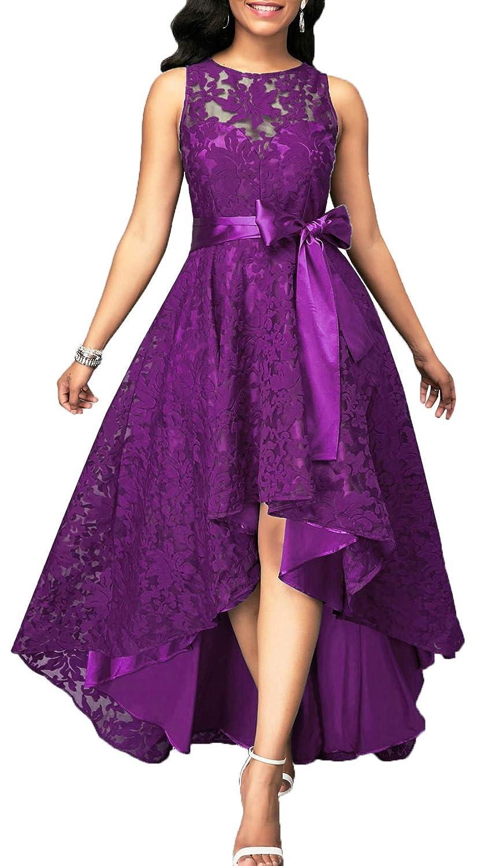 Purple EileenDor Women's Short Front Long Back Lace Prom Dresses Sleeveless HiLo Ankle Cocktail Party Dresses