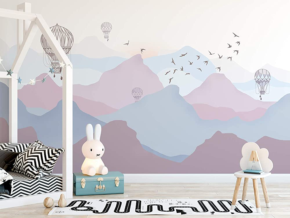 Landscape Wallpaper Mountain Removable Nature Mural Nursery Mountains with Pine Peel and Stick Wallpaper Self Adhesive Bedroom Wallpaper SO7