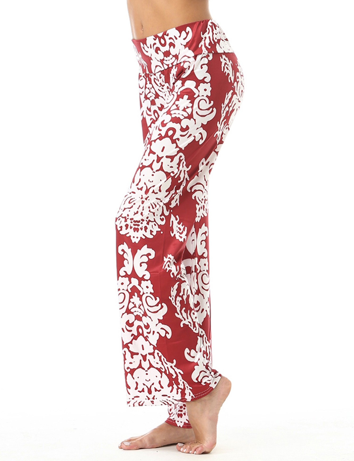 FISOUL Women Pants Women Floral Printed Straight Wide Leg Pants Leisure Full-Length Trousers Floral Wide Leg Pants Women Wide Leg Pants Wine Red XXL