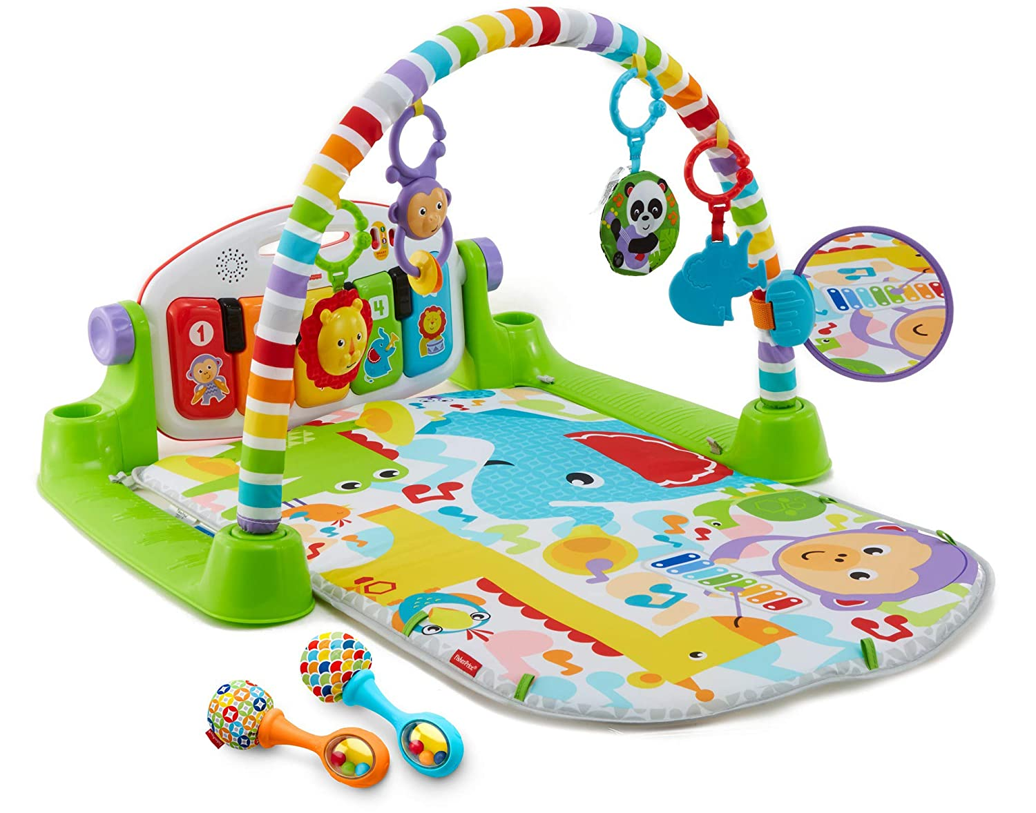 Exclusive Fisher-Price Deluxe Kick n Play Piano Gym /& Maracas Bundle