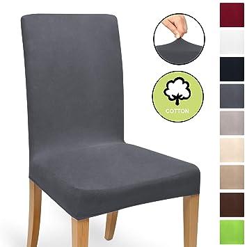 Beautissu Funda de sillas MIA - 35x50 cm Funda elástica de algodón - Bi-elástica - ÖKO-Tex - Antracita: Amazon.es: Hogar