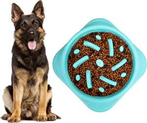 KASBAH Large Dog Slow Feeder Bowl, Anti-Gulping Puzzle Bowl Slower Food Feeding Dishes Bloat Stop Dog Bowls Prevent Choking Healthy Design Dog Bowl, One Size, Blue
