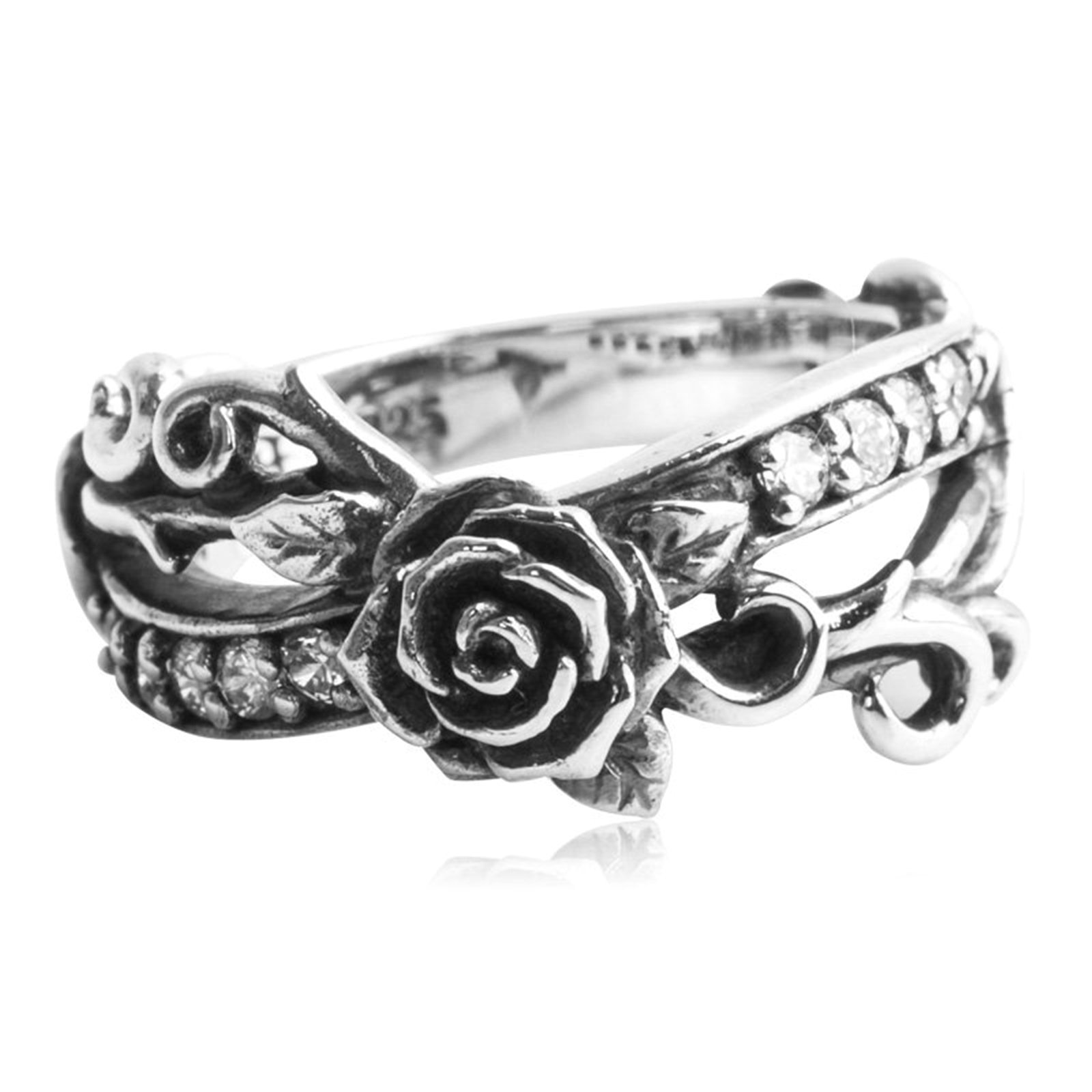 Epinki 925 Sterling Silver Punk Rock Vintage Gothic Rose Flower Ring Cubic Zirconia for Women Size 7 by Epinki
