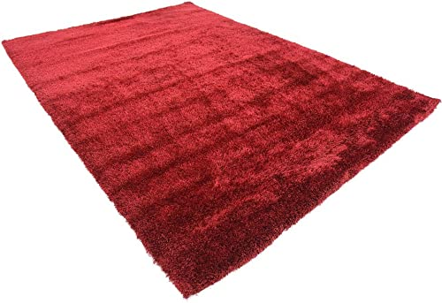 Unique Loom Luxe Solo Collection Plush Modern Red Area Rug 7' 0 x 10' 0
