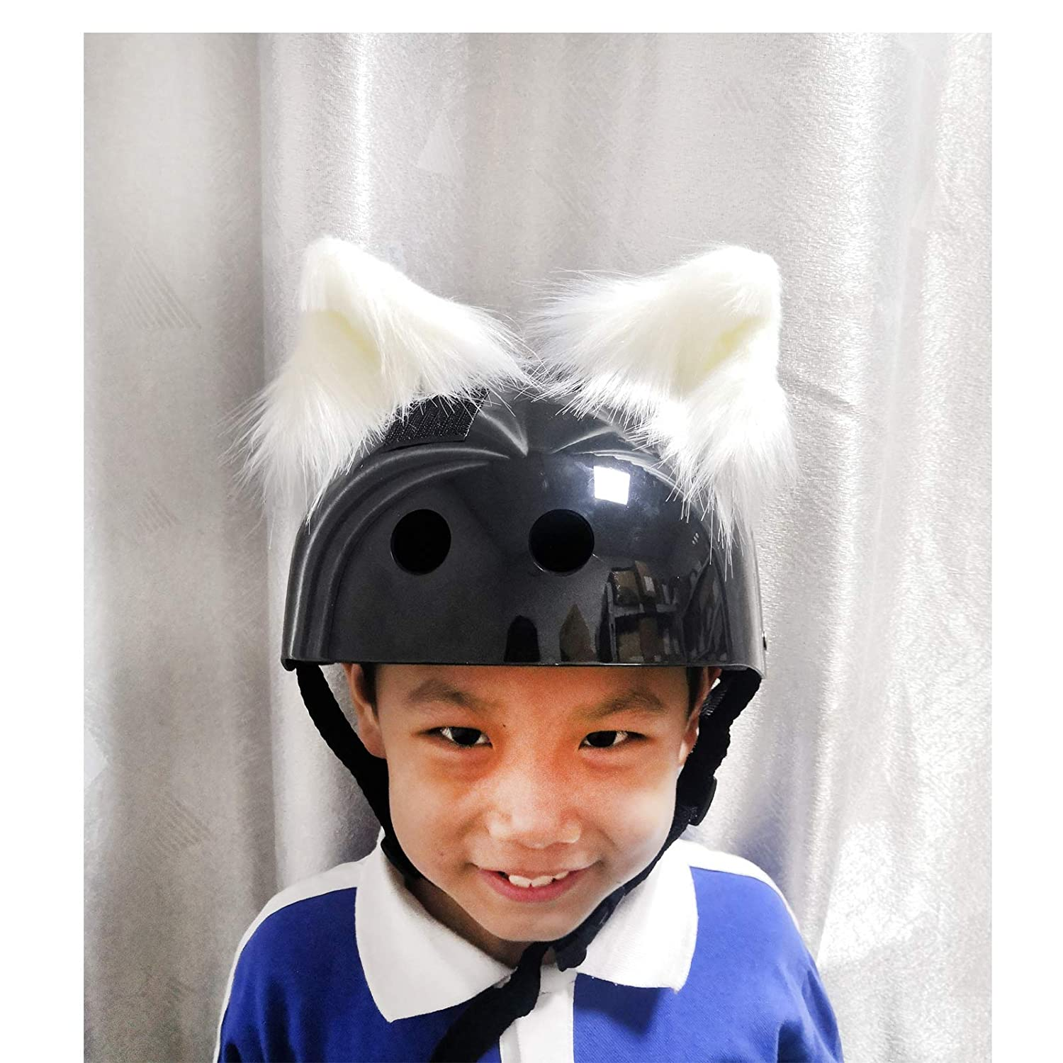Hai Hong Helmet Cat Ears Crystal Helmet Accessories Decoration for Motorcycle,Snowboarding Biking Skiing Cycling Skating Costume Cosplay for Kids and Adults 2PCS,White