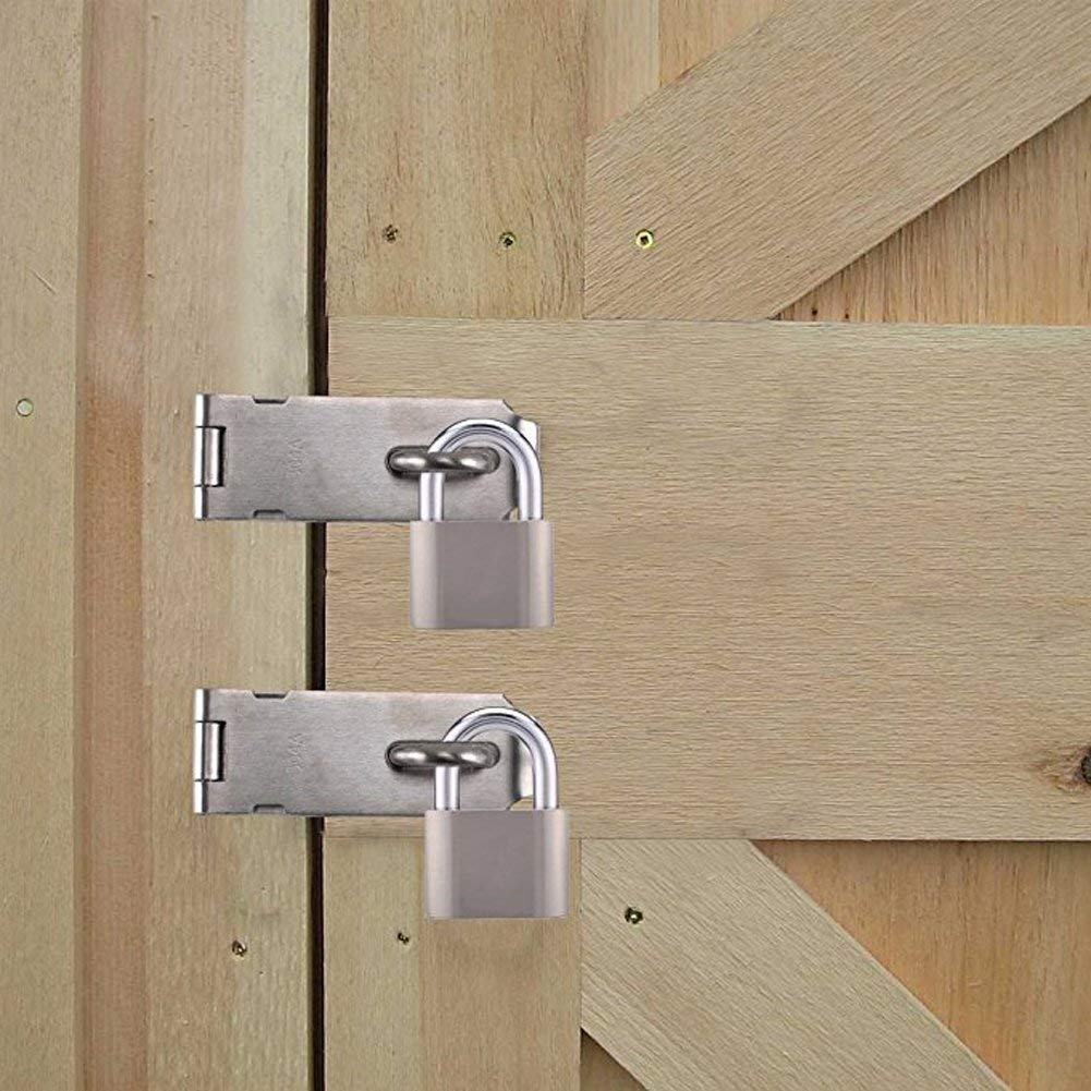 SUS 304 Stainless Steel Door Bolt Latch Deezio Padlock Hasp Staple Safety Door Clasp Gate Lock Latch 5inch