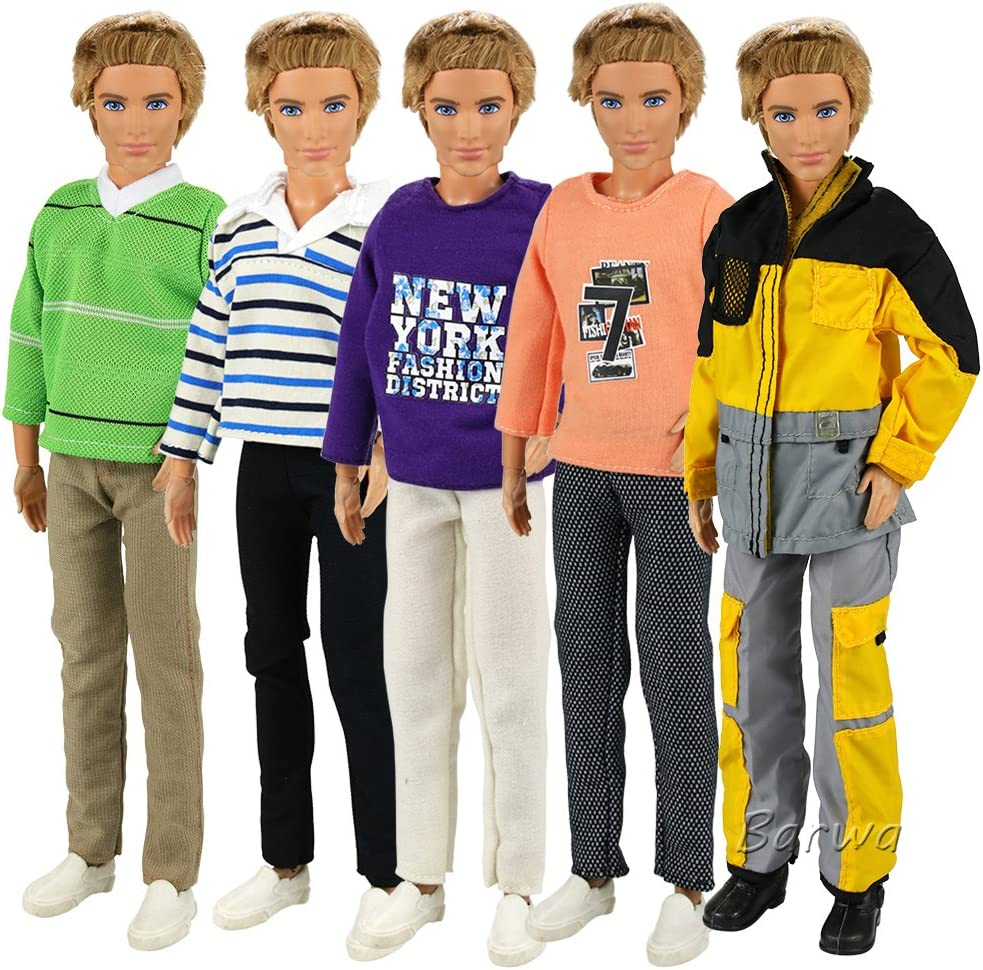 BARWA 3 Sets Fashion Long Sleeve Shirt Outfit Clothes with Trousers for 12 inch Boy Friend Doll