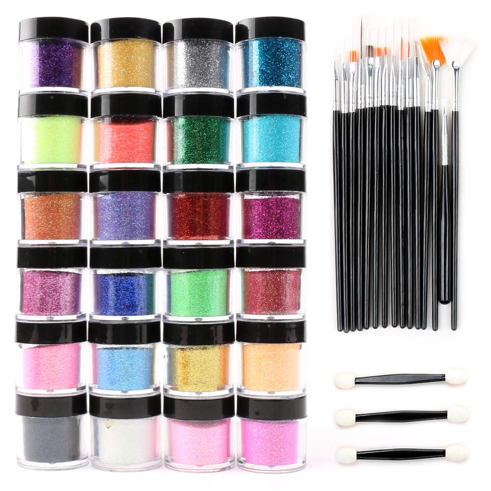 24 Color Glitter Powder Dust Nail Art glitter powder Tips decoration Jumbo Size by BEAUTY ON LINE