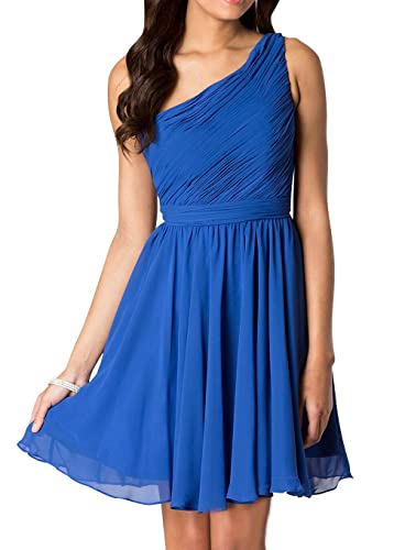 Hanxue Women's One shoulder Bridesmaid Dress Short Chiffon Party Dress Evening dress