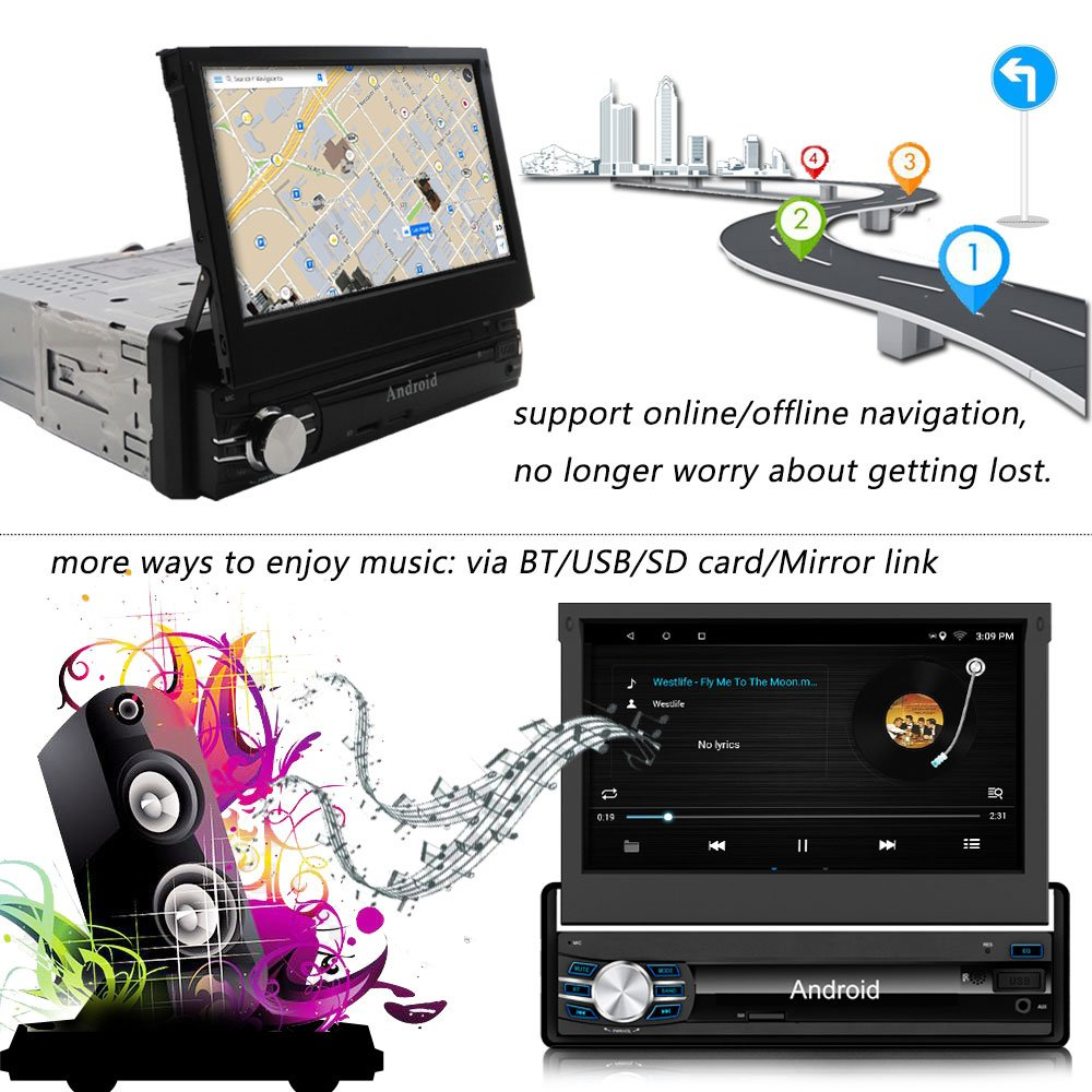 Yody Single Din Android In Dash Car Stereo with Bluetooth 7 Inch HD Touch Screen,Support WiFi,GPS/Navigation,Mirror Link,USB/SD/AUX/AM/FM Car Radio,Backup Camera,Microphone,wireless remote (no dvd) by Yody (Image #4)