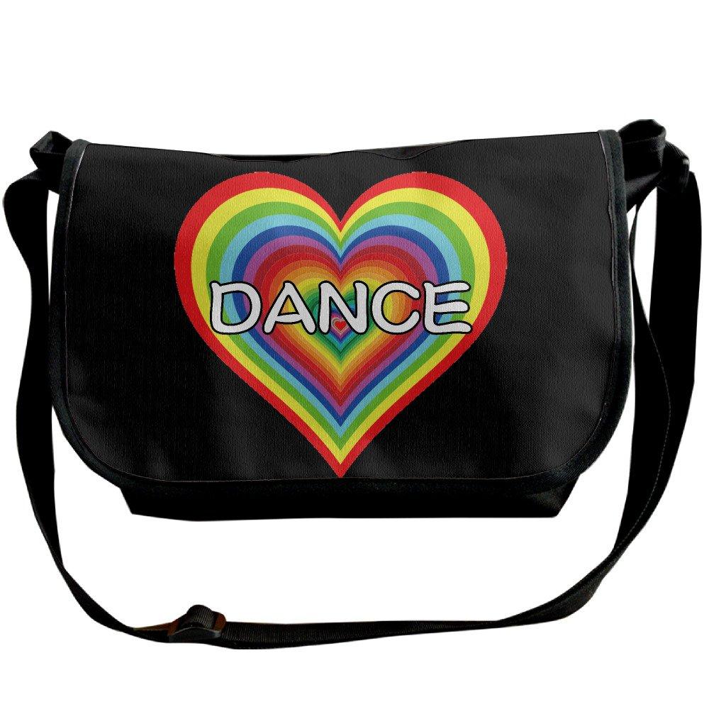 Loveダンスレインボーハートカジュアルメッセンジャー学校ショルダーバッグ旅行クロスボディバッグユニセックススリングバッグ One Size ブラック B073B1117T