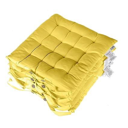 Homescapes Set de 4 cojines acolchados con tiras para Silla, rellenos de poliéster y tapizados en 100% algodón 40 x 40 cm color amarillo
