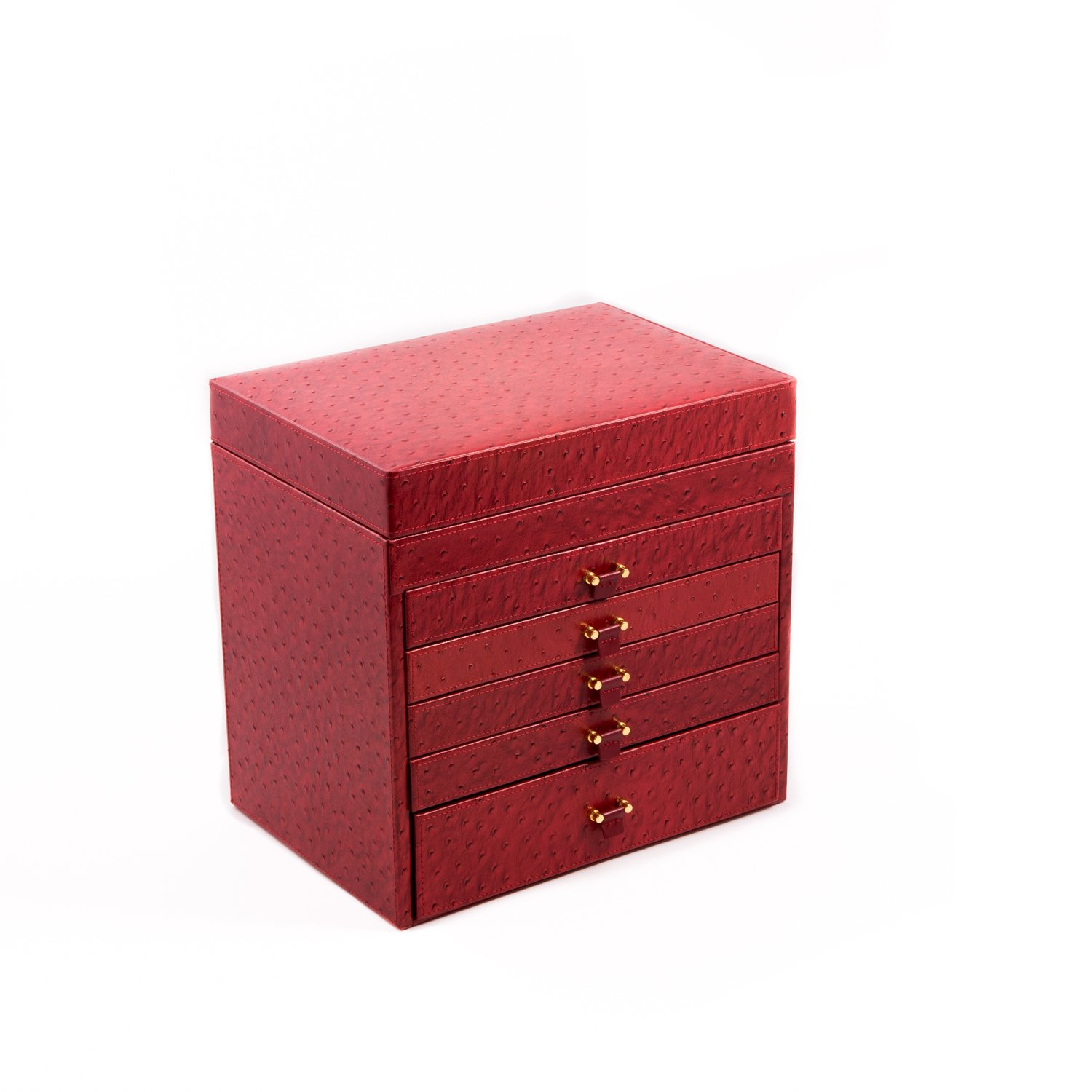 Time Factory AJ-BB589RED ''Ostrich'' Leather Jewelry Chest with Removable Travel Case, 5 Drawers and Top Tray with Mirror, Red