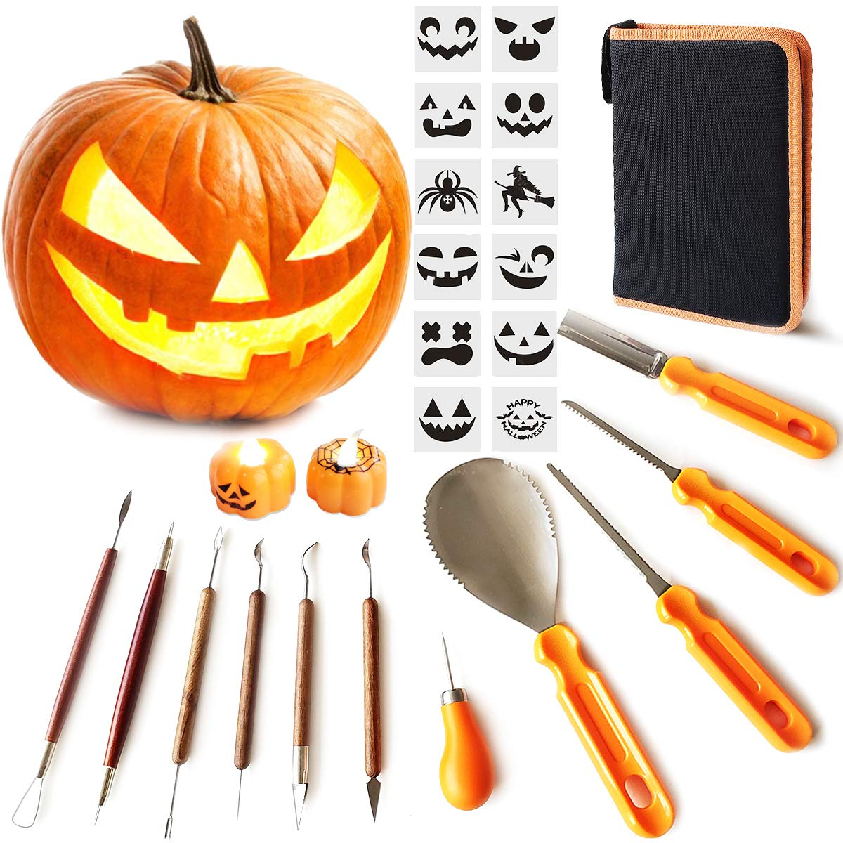 Pumpkin Carving Tools Kit, 11 Pieces Halloween Pumpkin Carving Tools Set,2 LED Pumpkin Candles,12 Carving Stencils with Carrying Case Halloween Decorations by DUBBUL
