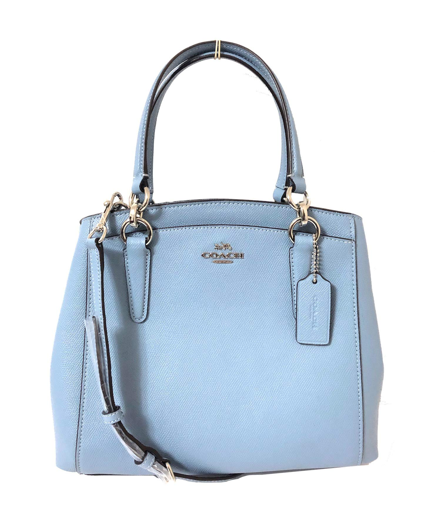 COACH Crossgrain Leather Minetta Crossbody Shoulder Bag (SV/Cornflower)