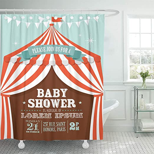 Bathroom Waterproof Fabric A Carnival Stripe Tents Circus Shower Curtain Liner