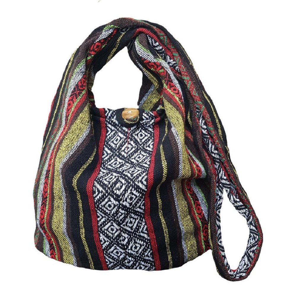 BTP! Thai Cotton Sling Bag Purse Crossbody Messenger Hippie Hobo Hand Woven Ikat (Multicolored A104)