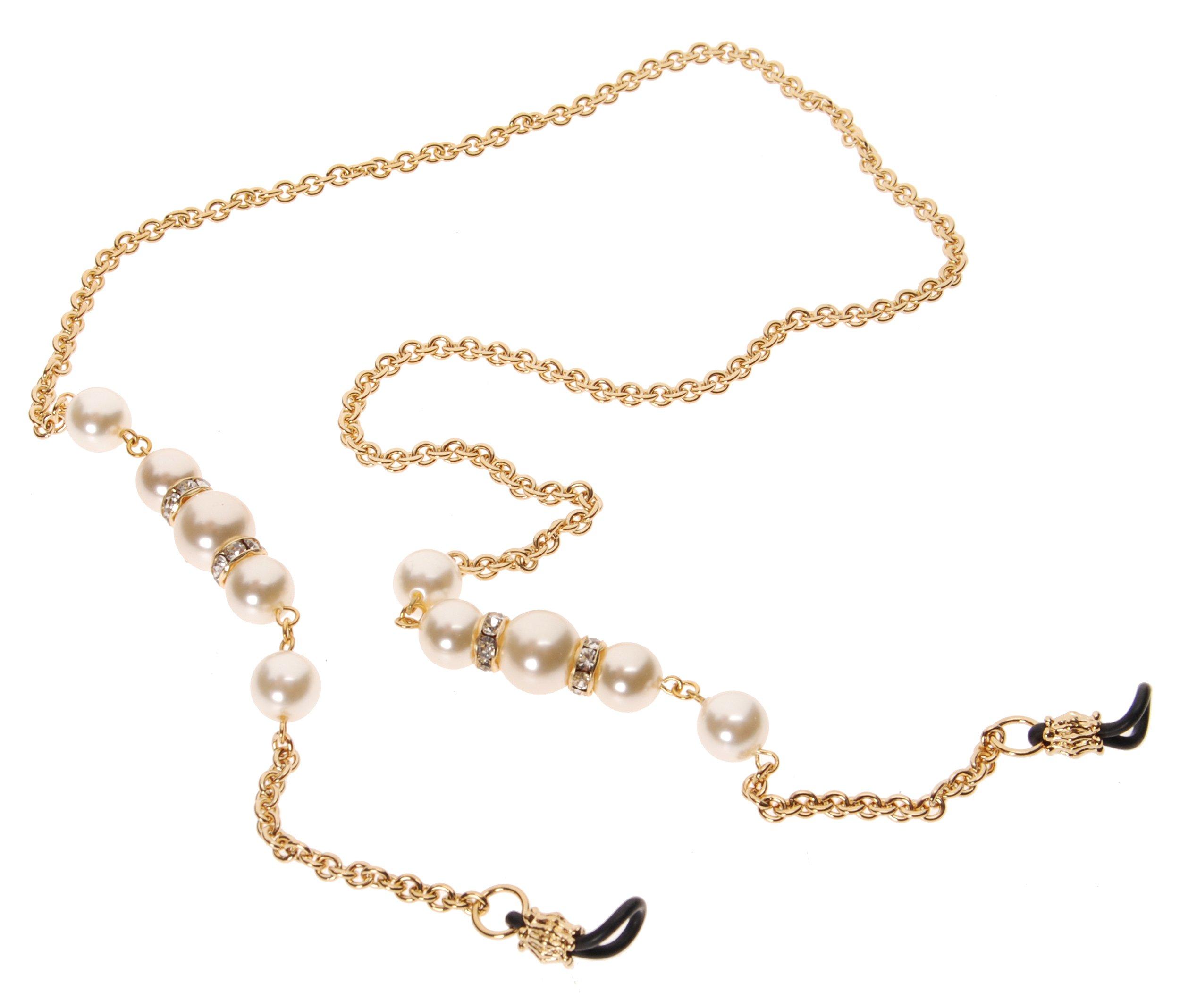 L. Erickson Cadabra Eyeglass Chain - Cream Pearl/Crystal/Gold