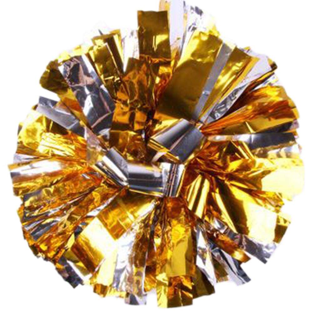 Milopon Cheerleading Pom Poms Cheerleader Spiel Pom Plastikring Junggesellinnenabschied Dressing (Gold)