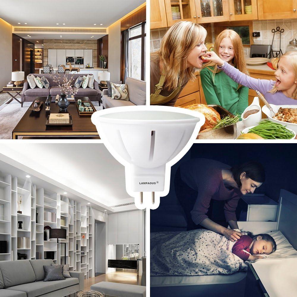 Lampaous LED MR16/GU 5.3/Bulbs 5/Watt Bulbs MR16/LED Light Bulbs 450/45SMD 50/Watt Halogen Replacement Ceramic Body 12/V AC//DC 6er Pack Warm White GU5.3 5.00watts 12.00volts
