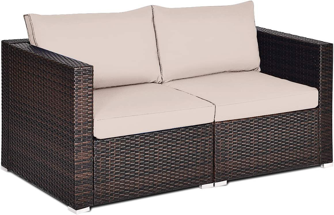 Tangkula 2 PCS Outdoor Wicker Corner Sofa Set, Patio Rattan Loveseat w Removable Cushions, Sectional Sofa Set Additional Seats for Balcony Patio Garden Poolside Brown