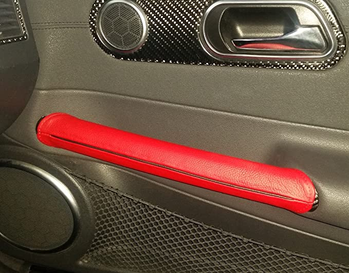 Medium Gray Leather-Black Thread RedlineGoods Door Pull Covers Compatible with Chrysler Crossfire 2003-08