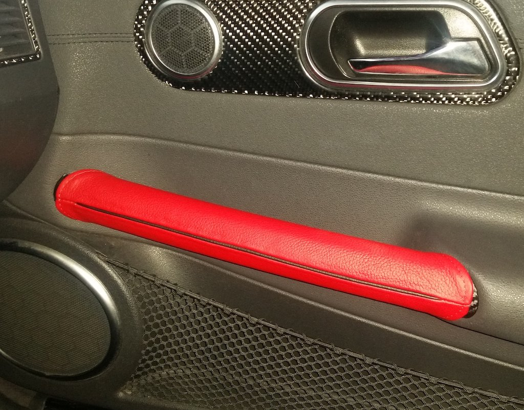 Black Leather-Black Thread RedlineGoods Door Pull Covers Compatible with Chrysler Crossfire 2003-08