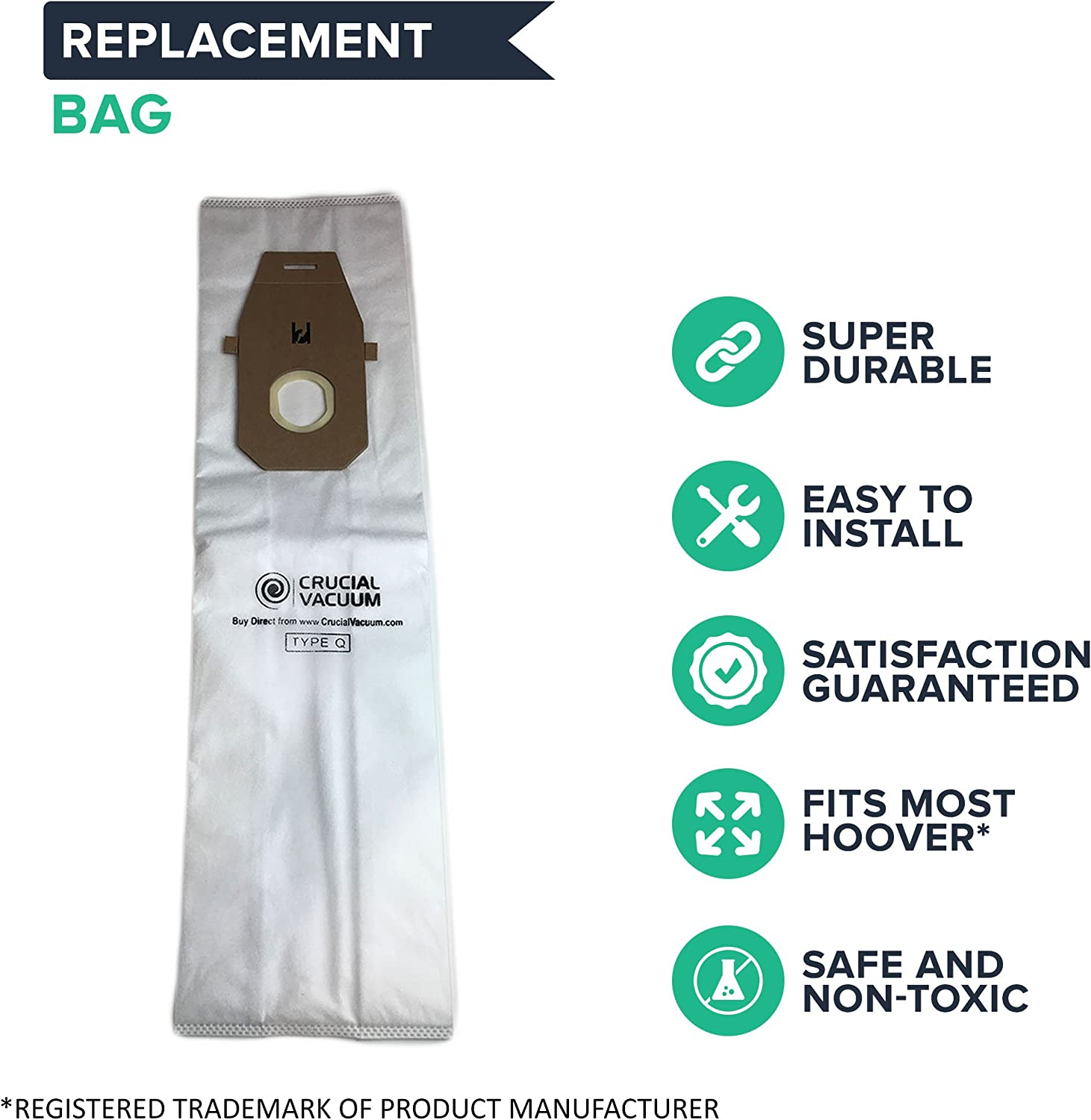 Crucial Vacuum Replacement Vac Bags Compatible With Hoover Part Ah10000 Uh30010com Fits Hoover Platinum Uh30010com Upright Vacuums Use Type Q Compact Disposable Bag For Home Vacs