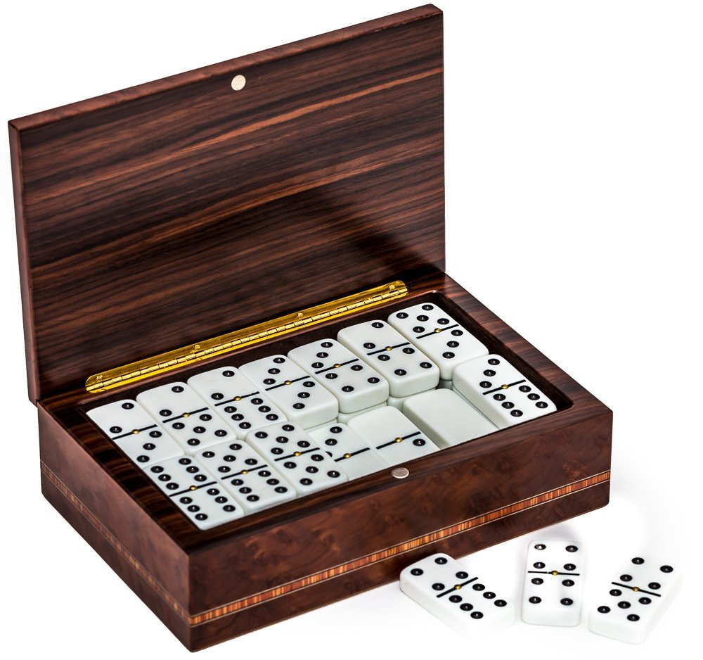 Bello Collezioni - Via Firenze Luxury Italian Briarwood Double Nine Professional Jumbo Dominoes Set from Italy