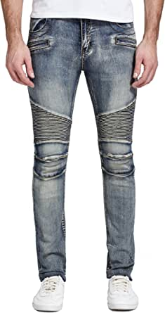 Mrpick Men's Skinny Motorcycle Biker Jeans
