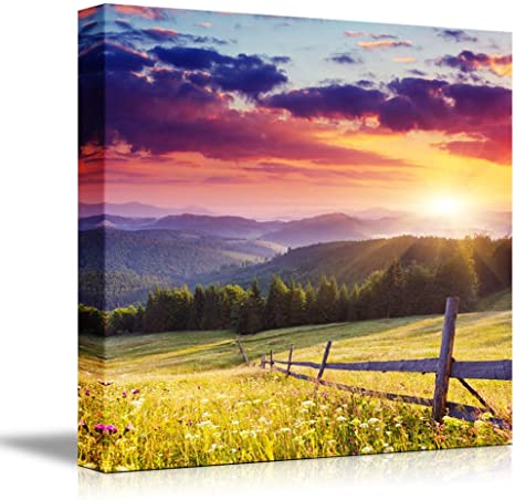 Amazon Com Canvas Prints Wall Art Majestic Sunset In The Mountains Landscape Beautiful Mountain Scenery Modern Wall Decor Home Art Stretched Gallery Canvas Wraps Giclee Print Ready To Hang 24