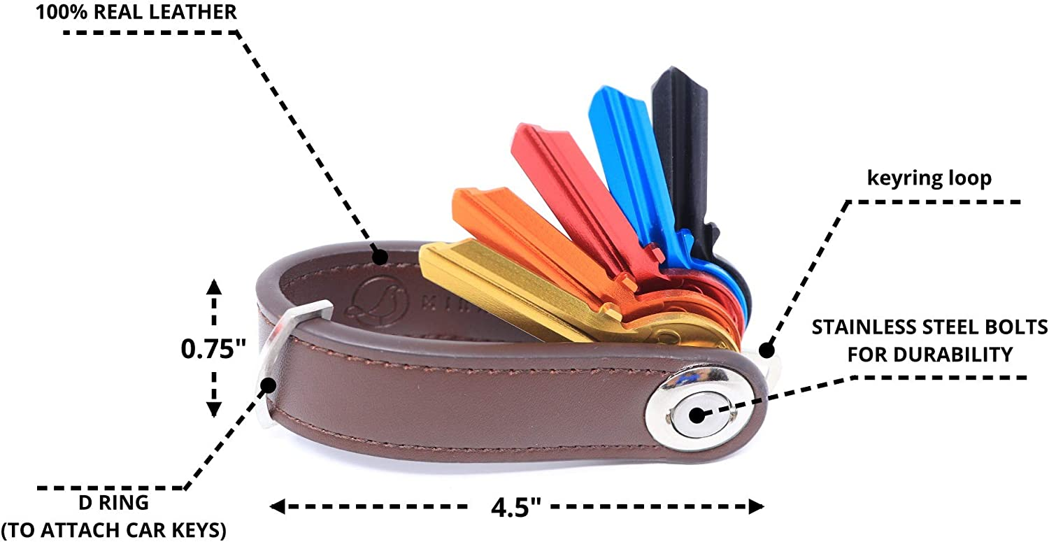 Details about  /PU leather Compact Key Chain Ring Strap Expandable Keychain Holder Organizer