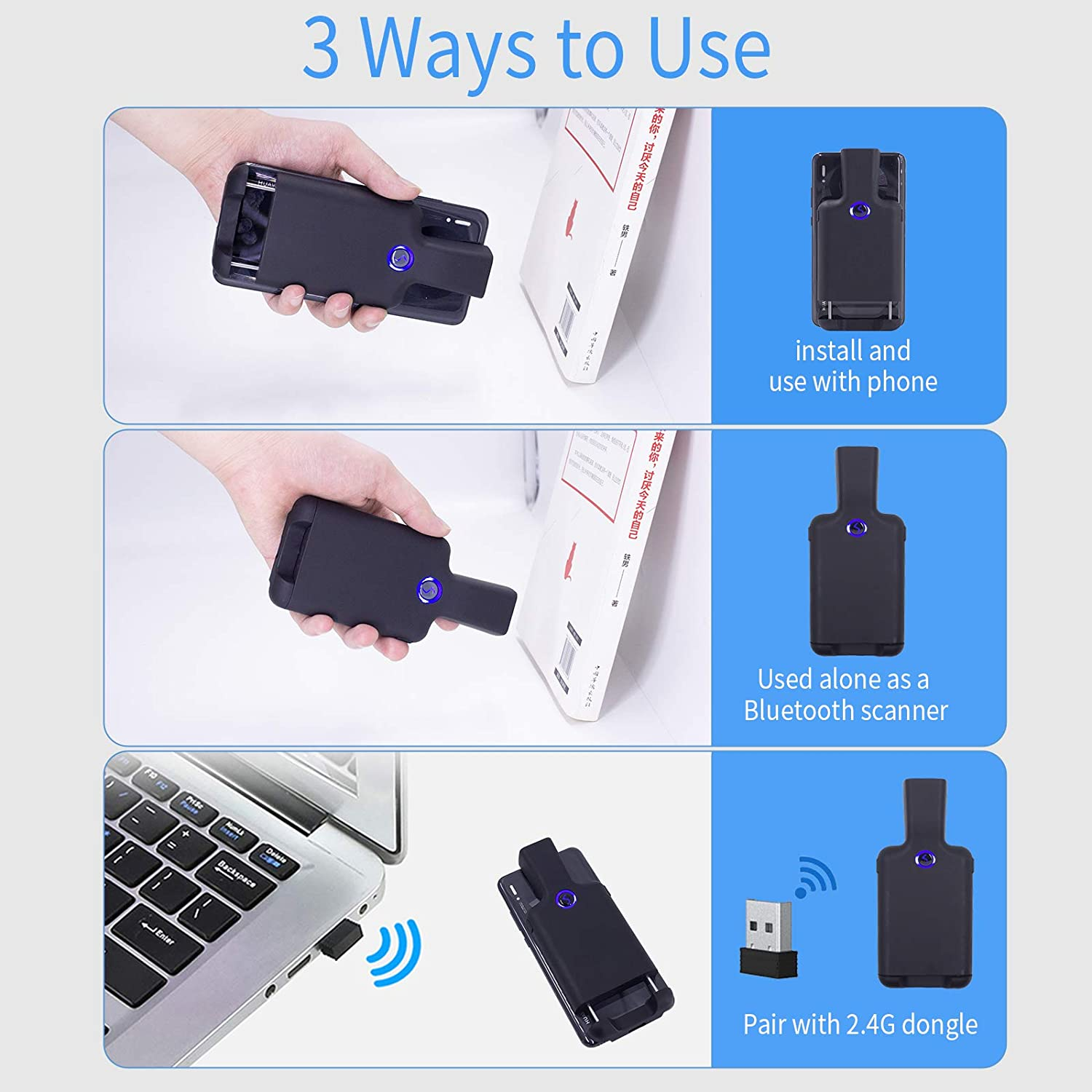 1D 2D QR Wireless Portable Back Clip Barcode Reader for Smartphone iPhone iOS Android Alacrity Bluetooth 2D Barcode Scanner