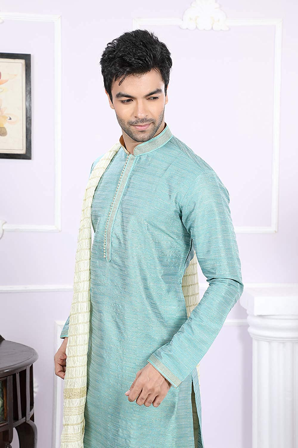 Da Facioun Indian Designer Partywear Traditional Ethnic Mens Wear Kurta Pajama. Teal