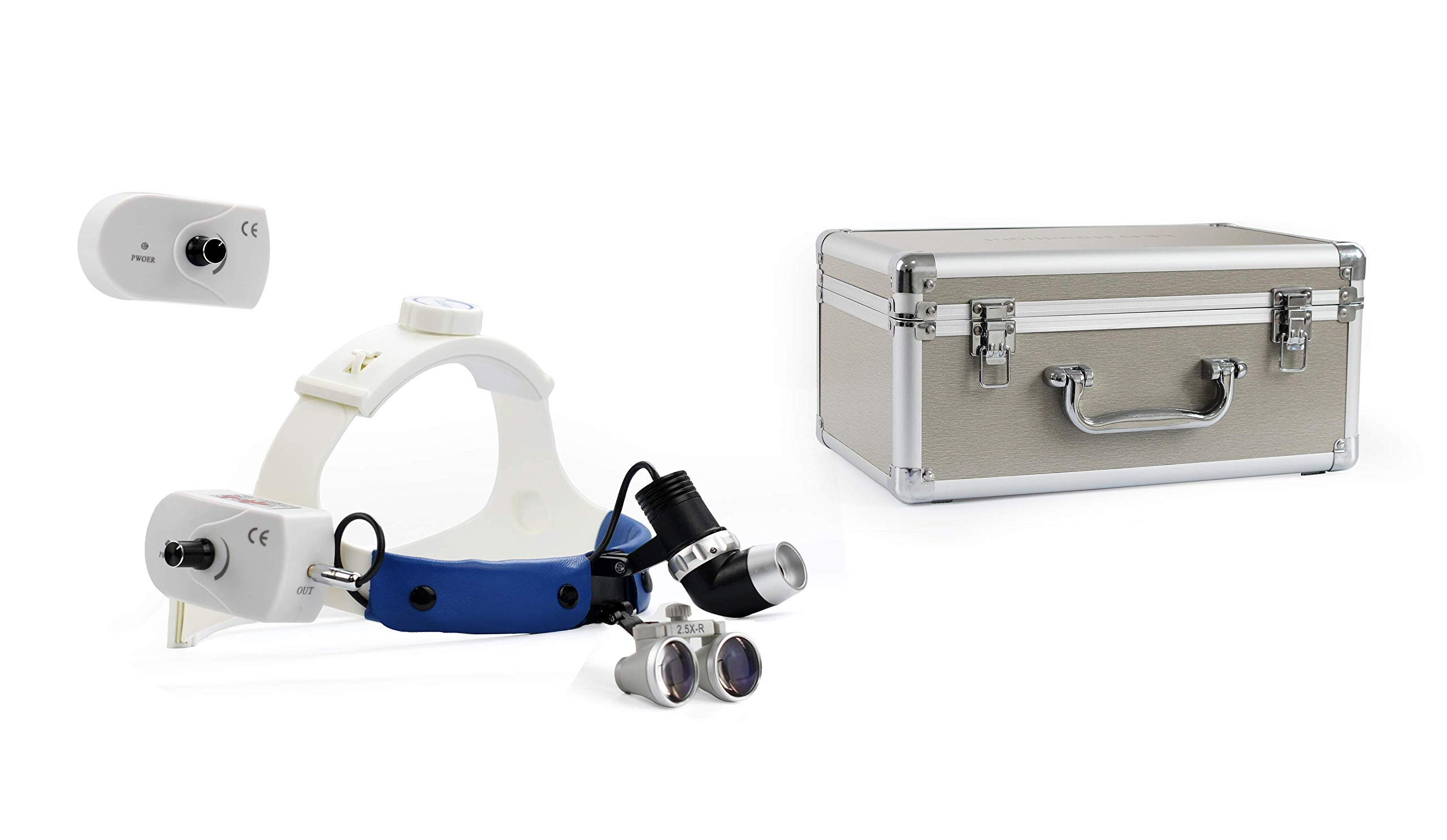 OUBO BRAND 2.5X-R Surgical ENT LED Headlight JD2600 Brightness Adjustable with Aluminum Box