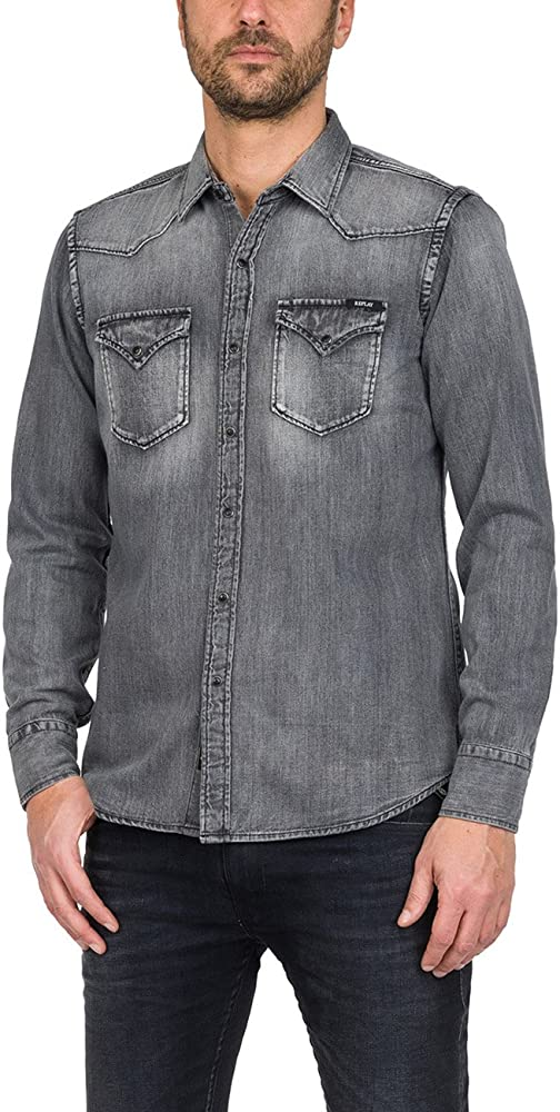 REPLAY M4860z.000.154 317 Camisa Vaquera, Negro (Black Denim 10), Small para Hombre: Amazon.es: Ropa y accesorios