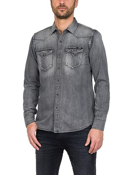 online store 1bfaa 7186a REPLAY Camicia in Jeans Uomo: Amazon.it: Abbigliamento