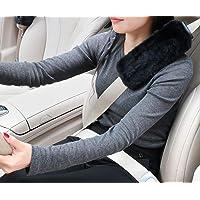 SEG Direct Faux Fur Seat Belt Pads, Backpack Pads, Shoulder Bag Pads for Adults and Children (Black 2-Pack)