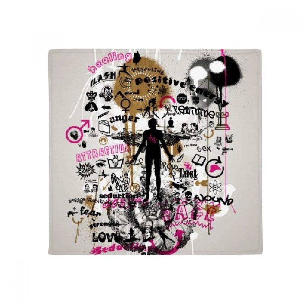 DIYthinker Graffiti Street Flower Human Pattern Anti-Slip Floor Pet Mat Square Home Kitchen Door 80Cm Gift