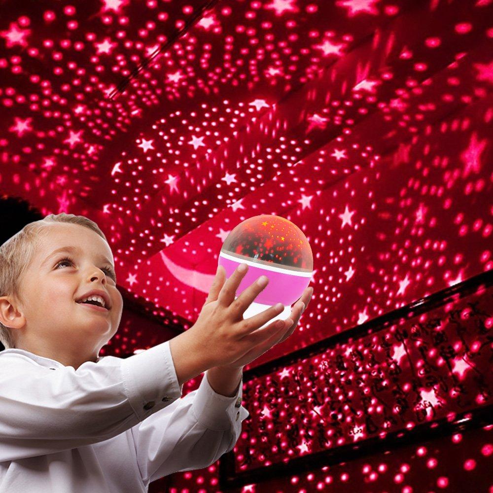 DMbaby Weihnachten Geschenke f/ür M/ädchen Kinder Sternennachtlichtprojektor 360-Grad-Umdrehung Geschenke 2-8 J/ährige M/ädchen Geschenke f/ür 2 J/ährige M/ädchen Lila NL02