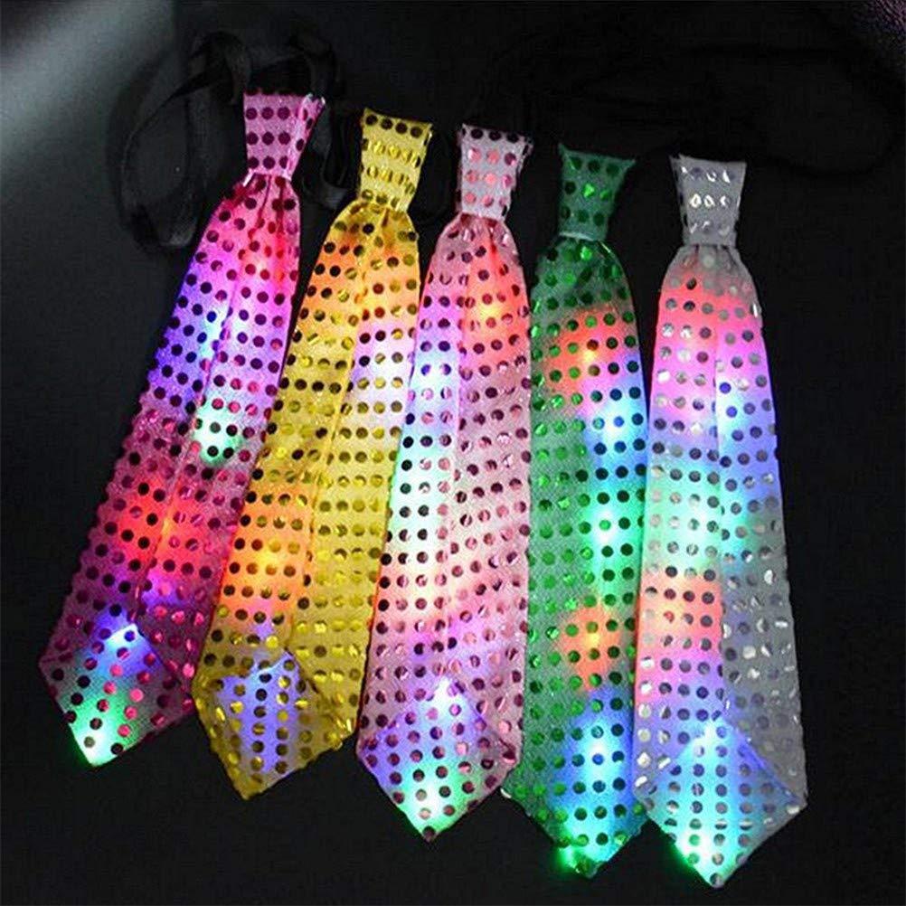 ideale per feste Macabolo bar concerti matrimoni Cravatta unisex con lustrini e luci LED lampeggianti compleanni