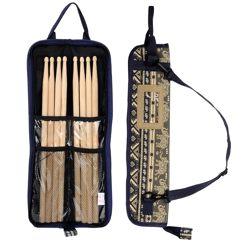 EaseIcon Exotic Style Percussion Accessories Carrying Bag Drumstick Case Cover Drum stick, Mallets, Brushes & Rods Holder with Adjustable Shoulder Strap (Layer) 4334358560