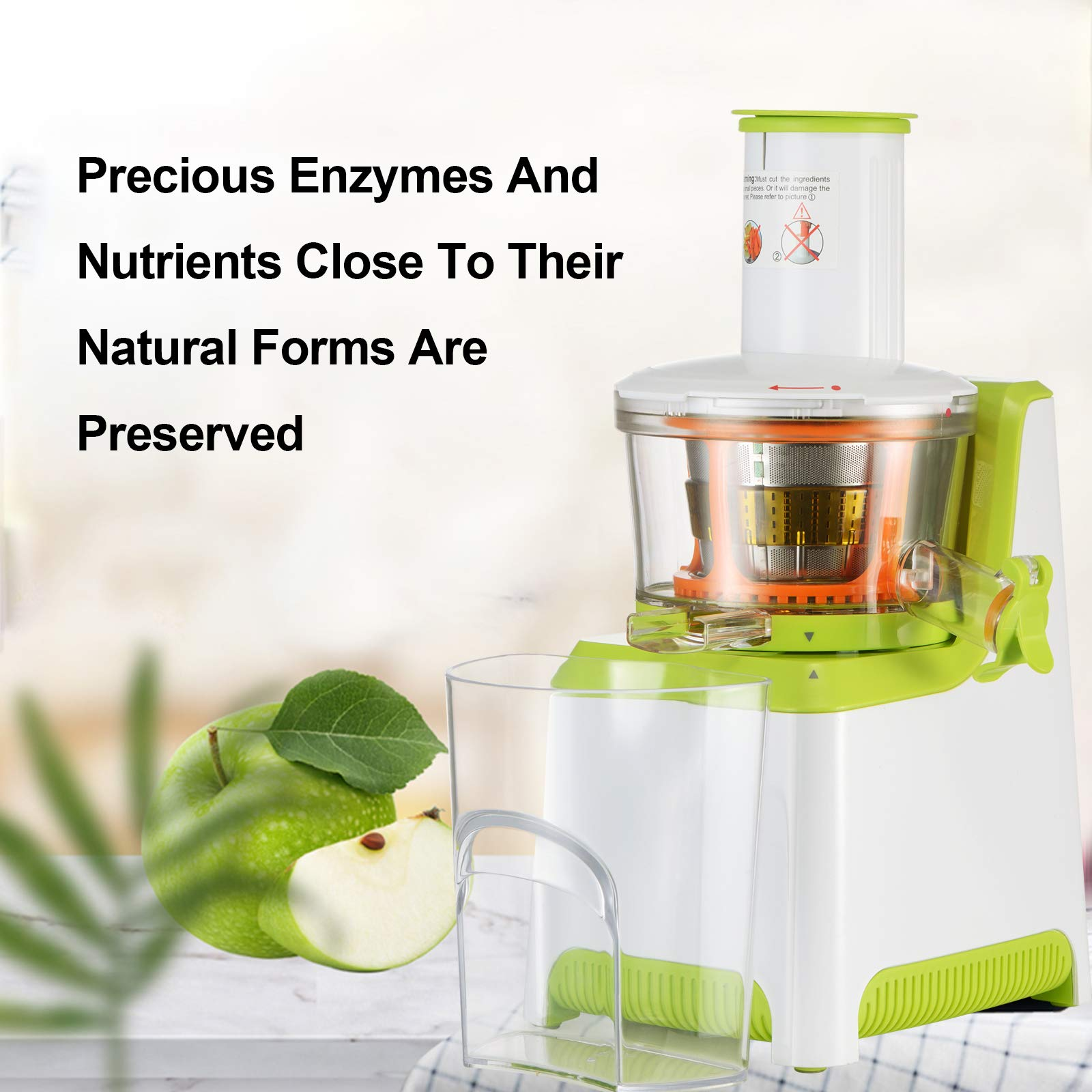 KUPPET Juicer, Slow Masticating Juicer, Higher Juicer Yield, Cold Press Juicer Machine with Quiet Motor & Reverse Function, High Nutrient Fruit & Vegetable Juice, Easy to Clean (Green&White) by KUPPET (Image #2)