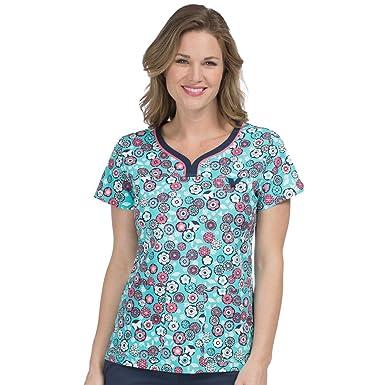 4572bbc4c50 Med Couture Mc2 Women's Lexi Sport Neckline Floral Print Scrub Top Small  Print