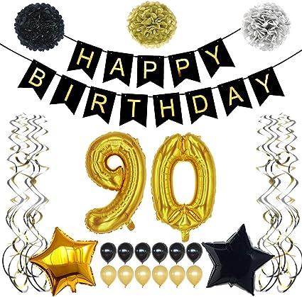 Amazon.com: TYLANG - Adornos para fiesta de 90 cumpleaños ...